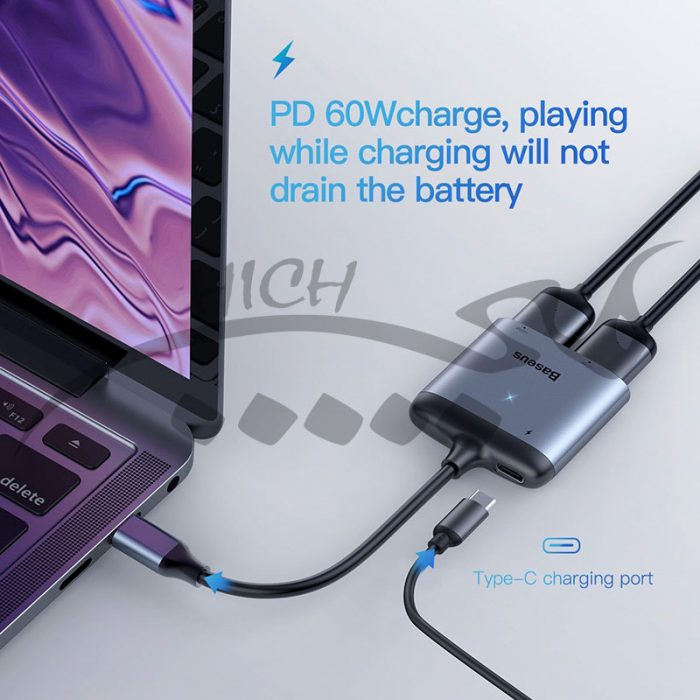 مبدل Baseus Enjoy HUB Adapter from USB-C to 2x HDMI and USB-C PD CAHUB-I0G